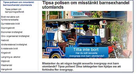 Tipsa svensk polis om barnsexhandel