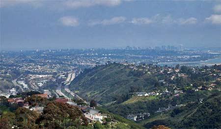 Panoramautsikt över San Diego och in över Mexiko