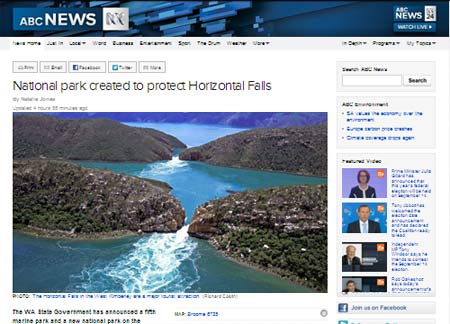 Ny nationalpark vid horisontellt vattenfall